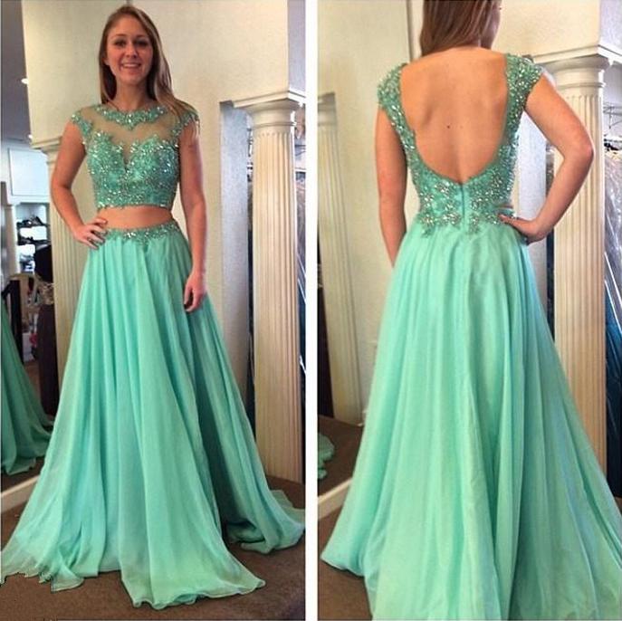 Custom Two 2 Pieces Prom Dresses, Long Prom Dress, Cheap Prom Dress,  Chiffon Prom Dress, Mint Prom Dress, Affordable Prom Dress, Junior Prom ...