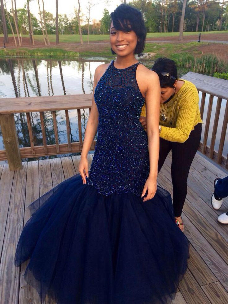 Heavy Beaded Mermaid Navy Blue Prom Dresses Long,Prom Gown,Formal ...